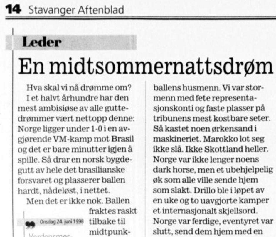 Norge - Brasil 1998 Stavanger Aftenblad